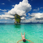 Tropical beach, snorkeling — Stock Photo