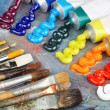 Oil paint and brushes — Foto Stock