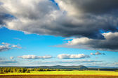 Hayfield and cloudy sky — Stock Photo