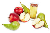 Glass of juice, apples and pears — Stock Photo