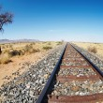 Railway line in namibian desert — Stock Photo