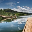 Highland lake Bunyonyi in Uganda — Stock Photo