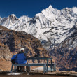 Stock Photo: Lofty mountains, view from Annapurna base camp