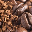 Coffee-beans and instant coffee background — Stock Photo