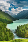 Beautiful turquoise lake in Altai mountains — Stock Photo