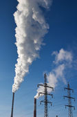 Electric power station with smokestack — Stockfoto