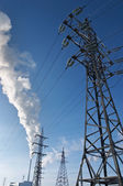 Elektrische elektriciteitscentrale met schoorsteen — Stockfoto
