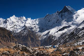 Lofty mountains, Annapurna base camp — Stock Photo
