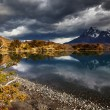 Stock Photo: sunrise in torres del paine national park