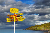Signpost in the Stirling Point, Bluff, New Zealand — Stock Photo