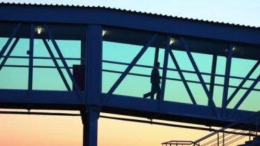 Homme qui marche en passant par le tunnel de l'aéroport — Vidéo