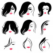 Stock Vector: Set of hair styling