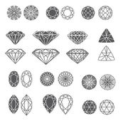 Set of diamonds — Vector de stock