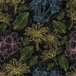 Grunge pattern with flowers — 图库矢量图片