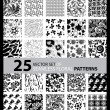 Big vector set of twenty five seamless floral patterns — Stock Vector