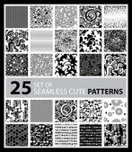 Big vector set of twenty five seamless patterns — Stock Vector