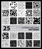 Big vector set of twenty five seamless floral patterns — Stock Vector