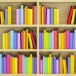 Bookcase with multicolored books - Zdjęcie stockowe