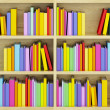 Bookcase with multicolored books - Stock Photo