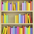 Stock Photo: Bookcase with multicolored books