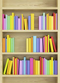 Bookcase with multicolored books — Stok fotoğraf