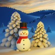 Happy snowman  — Stock Photo