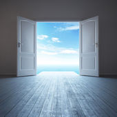 White empty room with opened door — Stock Photo