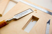 Making a component of wood furniture — Stock Photo
