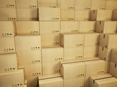 Warehouse with stack of cardboard boxes — Stock Photo