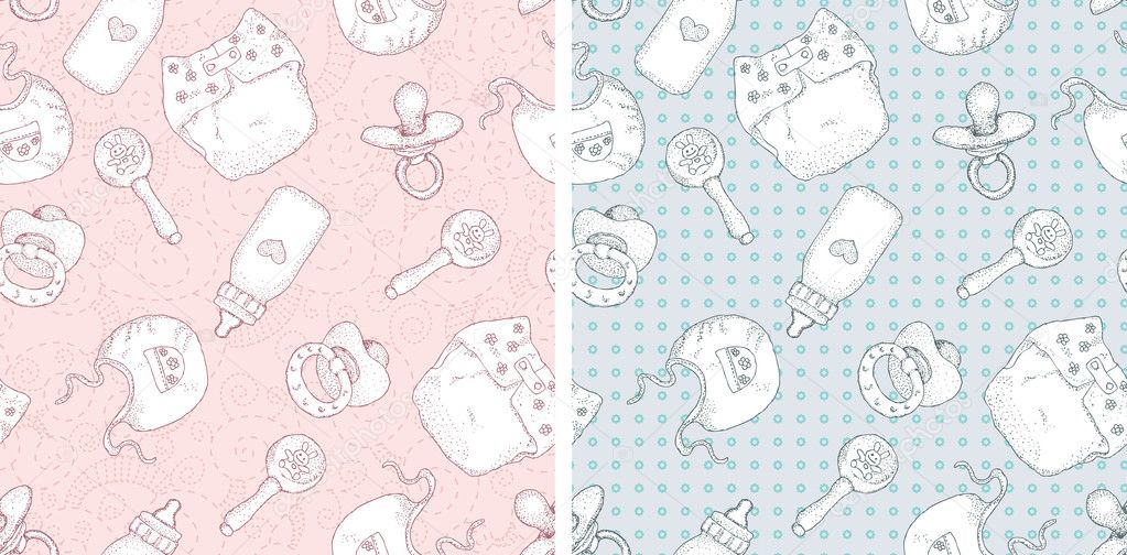 Set of 2 patterns  baby girl and baby boy    Baby Boy Patterns