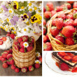 Strawberry in  basket and  chocolate cake — Foto de Stock