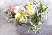 Easter eggs and spring flowers primroses — Stock Photo
