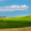 Tuscany landscape with typical farm house on a hill in Val d'Orc — Stock Photo #12589520