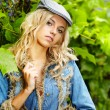Sexy blonde in blue jeans — Stock Photo #12590167