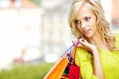 Autumn shopping woman — Stock Photo