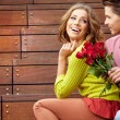 Close up portrait of attractive young couple in autumn color. — Stock Photo #12758530