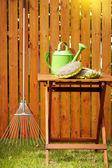 Otoño fondo herramientas de jardín — Foto de Stock