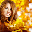 Autumn woman on leafs background — Stock Photo #13252955
