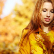 Autumn woman on leafs — Stock Photo #13253652