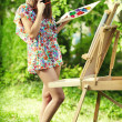 Stock Photo: Artist paints nature