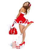 Sexig tjej kläder jultomten — Stockfoto