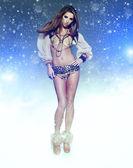 Dance Queen in snow party — Stock Photo