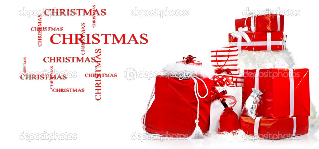 Pillar of boxes with presents wrapped in red paper, isolated on white  — Stock Photo #13878816