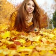 Young brunette woman portrait in autumn color — Stockfoto #13899831