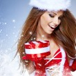 Beautiful sexy girl wearing santa claus clothes with christmas — Stock Photo #13900941