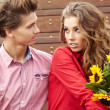 Close up portrait of attractive young couple in love outdoors. — Stock Photo #13902454
