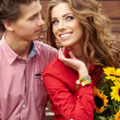 Close up portrait of attractive young couple in love outdoors. — Stock Photo #13902541