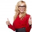 Happy smiling business woman with ok hand sign — Stock Photo #14033141