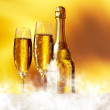 Champagne glasses ready to bring in the New Year — Stock Photo #14077171