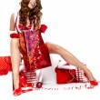 Beautiful sexy girl wearing santa claus clothes with christmas g — Stok fotoğraf